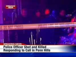 A police officer is shot while responding to a call on Johnston Road in Penn Hills.