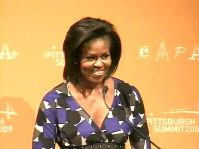 Michelle Obama talks to students at CAPA, the Pittsburgh Creative and Performing Arts School.