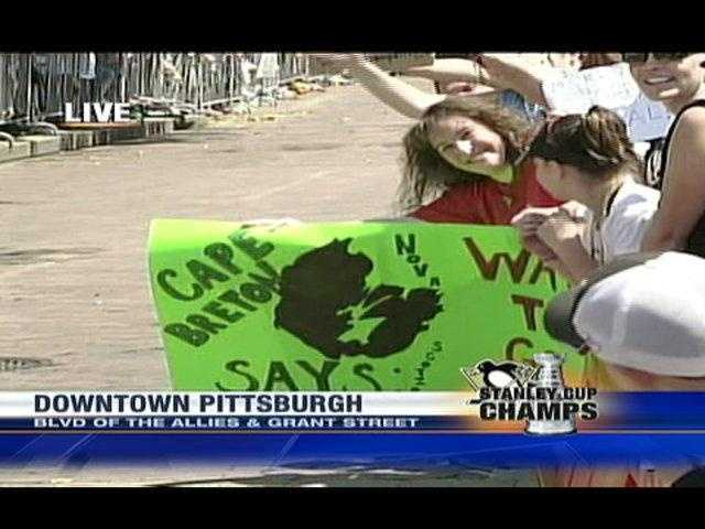 Fans from Sidney Crosby's hometown of Cape Breton, Nova Scotia, drove to Pittsburgh to cheer their favorite player.