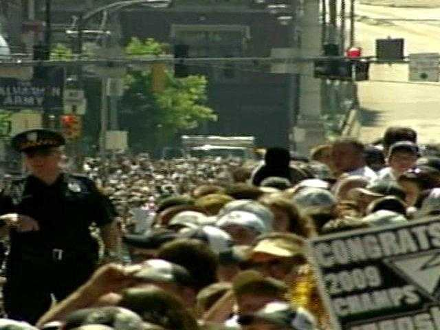 Pens fans lined the streets of Downtown Pittsburgh hours before the parade began.