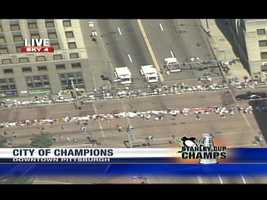 Sky 4 flew over part of the Pens' parade route, which is very similar to the one used for the Steelers' victory parade.
