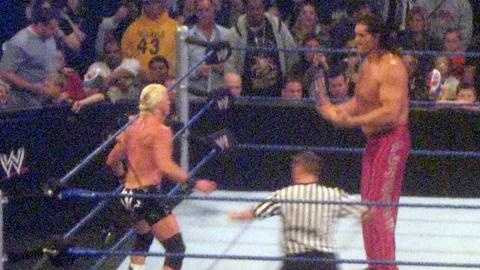"Dolph Ziggler backs down from The Great Khali at ""WWE Smackdown"" in Pittsburgh."