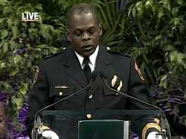 Pittsburgh Police Chief Nate Harper spoke at the memorial service for the three fallen officers.