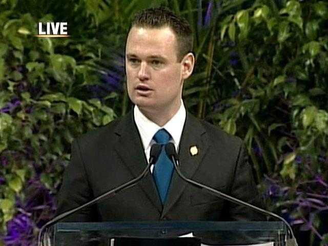 Pittsburgh mayor Luke Ravenstahl spoke at Thursday's memorial service.