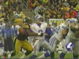 Dec. 23, 2001: Joey Porter sacks Detroit quarterback Mike McMahon during a 47-14 romp at Heinz Field. McMahon, a North Allegheny High graduate, was making his first pro appearance in Pittsburgh.