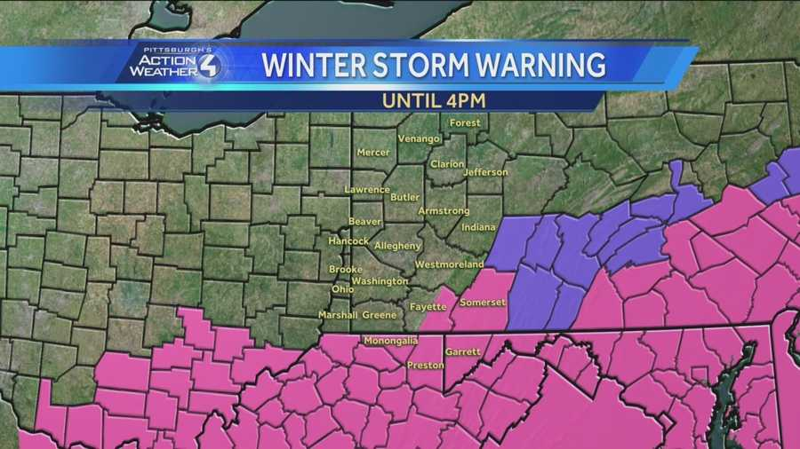 The areas shaded in pink are covered by a winter storm warning from the National Weather Service.