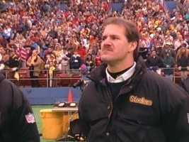 "A classic shot of ""the jaw"" on the sideline at Three Rivers Stadium."
