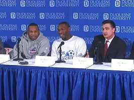 ... joined at a news conference with his brother, John, and Coach Ron Everhart. It was Sam's first public appearance since being injured.