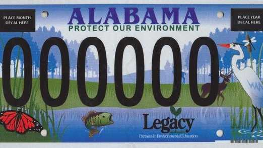 One of Alabama's many specialty car tags
