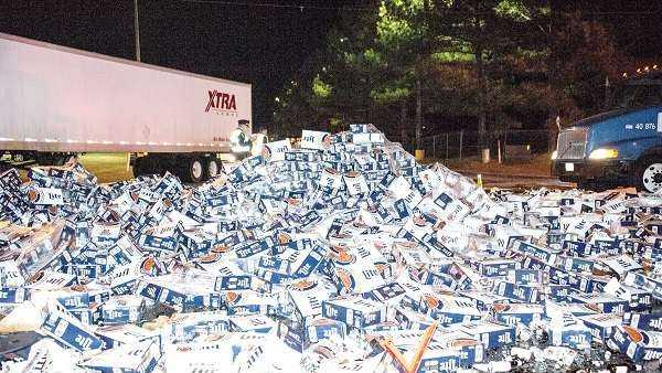 Thousand of cases of beer scattered Highway 280 in Alexander City, Alabama