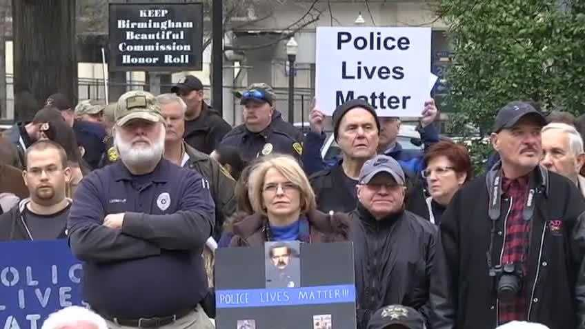 Hundreds in Birmingham gathered to show their support for officers in a Police Lives Matter rally.