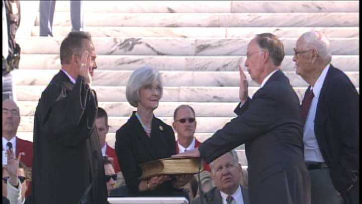 Alabama Gov. Robert Bentley takes the oath of office Monday to begin his second term.