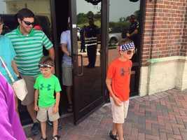 Sam Turner, 5, and Brooks Turner, 8, visit Willie's Duck Diner in West Monroe, La., as part of a Make-A-Wish trip.