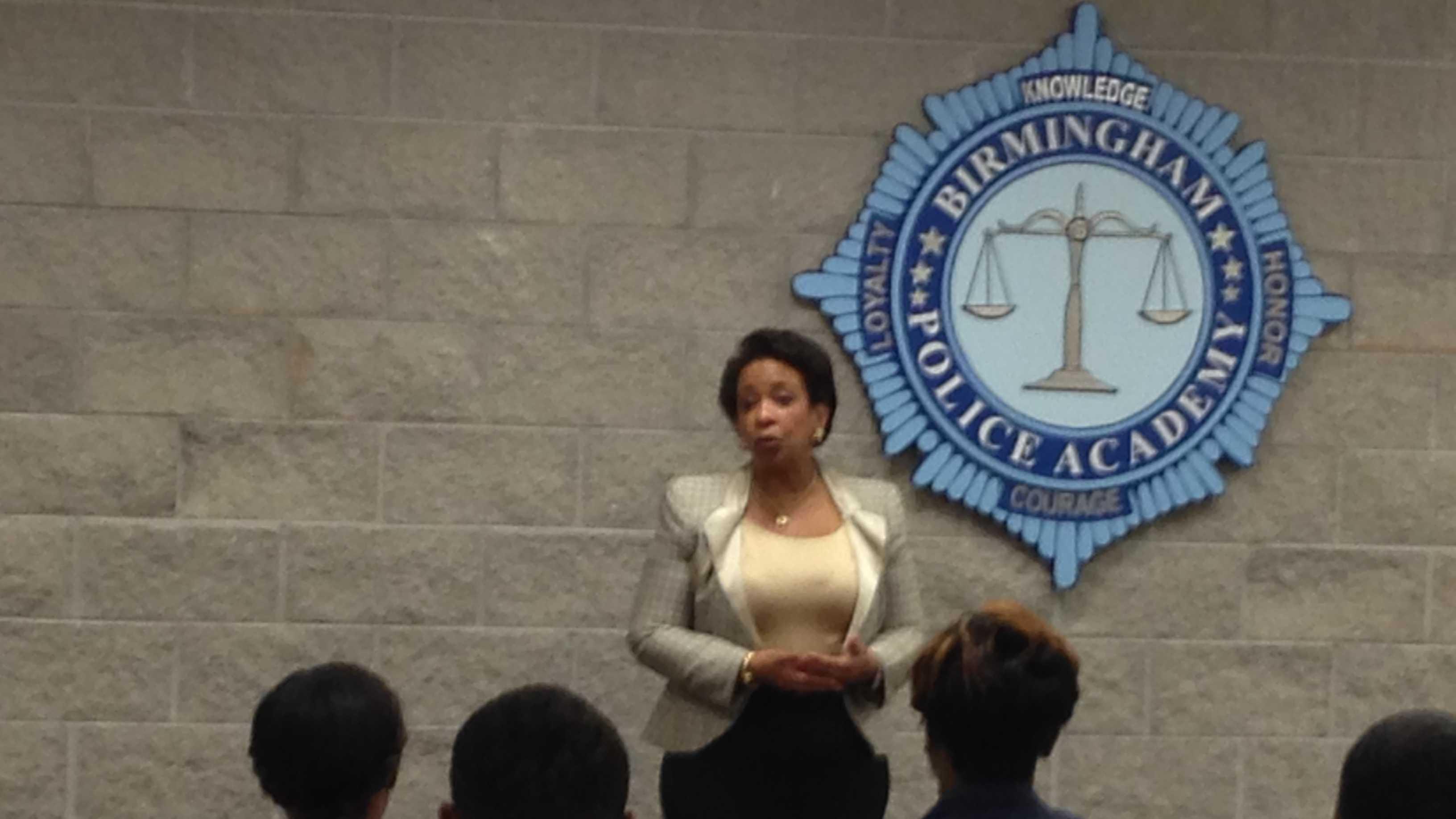 U.S. Attorney General Loretta Lynch addresses the Birmingham Police Academy on June 24, 2015.