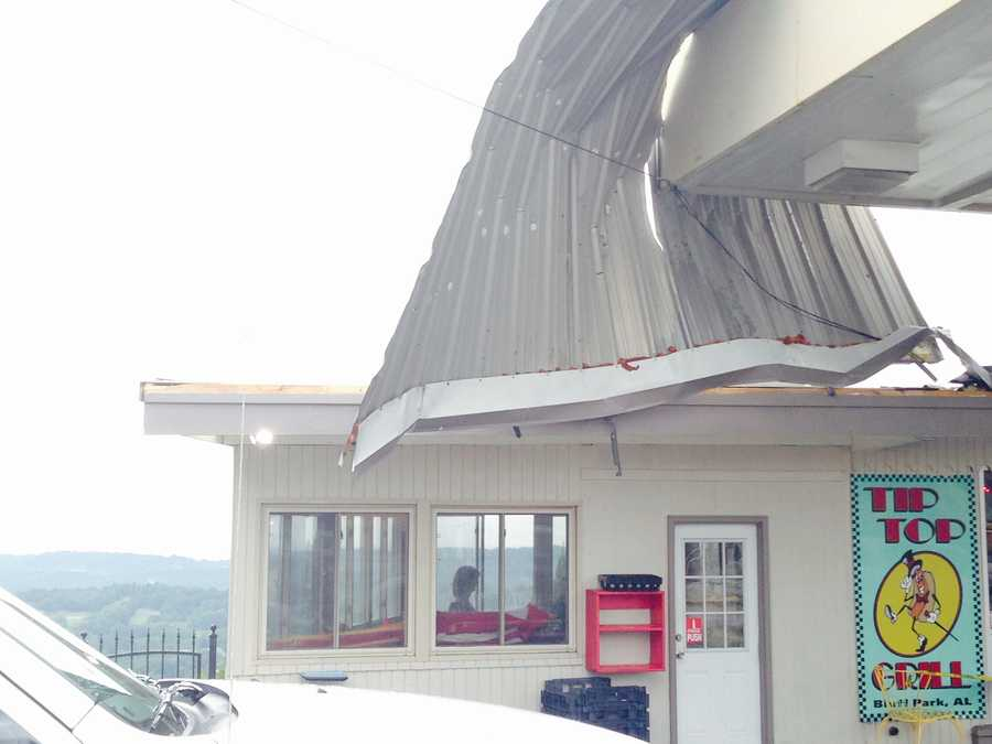 Roof damage at Top Grill in Hoover