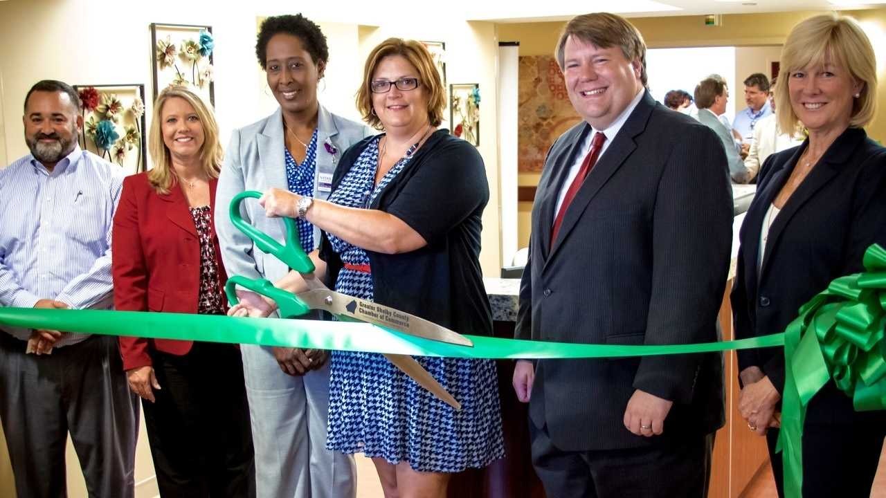 VITAS Healthcare celebrates the grand opening of its state-of-the-art IPU at Shelby Baptist Medical Center with official ribbon-cutting ceremony. From left to right, Alabaster City Manager George Henry, State Representative 49th District April Weaver, VITAS General Manager Erica Edwards-Lankford,VITAS Vice President of Operations Jennifer Nygaard, State Representative 73rd District Matt Fridy and VITAS Executive Vice President Peggy Pettit.