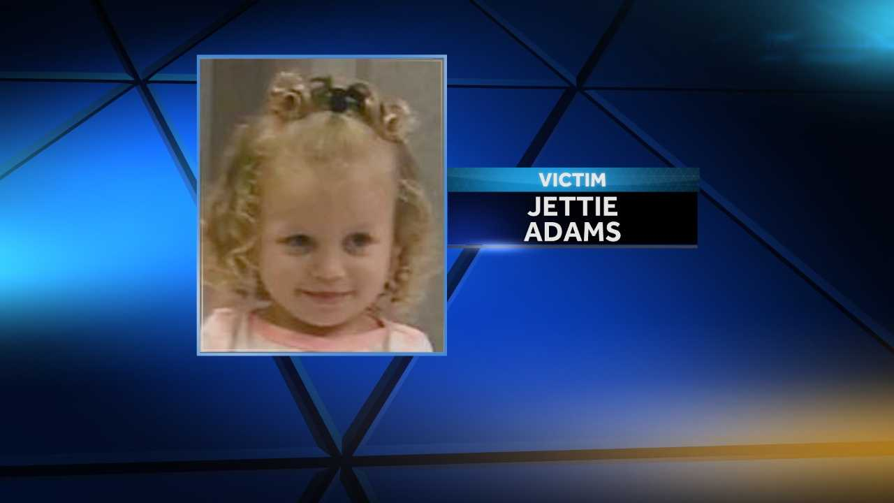 Jettie Adams, 3, was found unresponsive Monday on the porch area of her mother's home in Trafford. She was pronounced dead at Children's of Alabama. Misty Wright and Johnathon Talley have been charged with aggravated child abuse in the case.