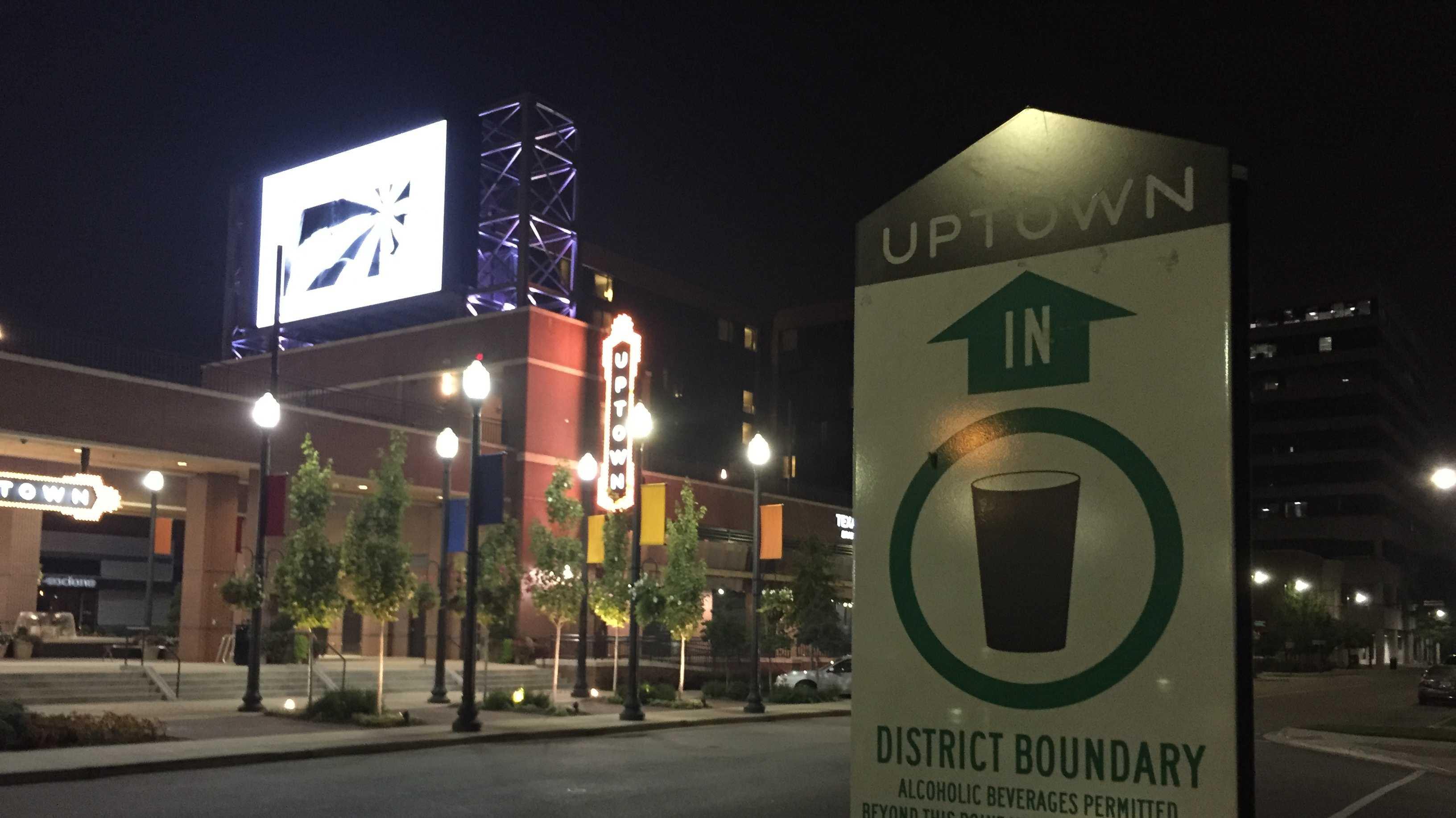 Beginning Thursday, the Uptown Entertainment District, BJCC, Sheraton and Westin Hotels in Birmingham will now allow patrons to walk around with open containers of alcohol.