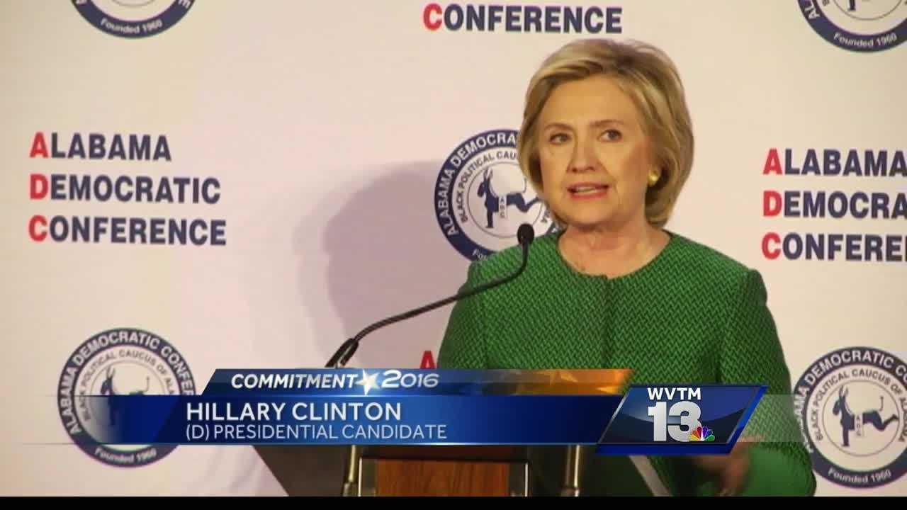 Democratic presidential candidate Hillary Clinton spoke to the semi-annual Democratic convention Saturday