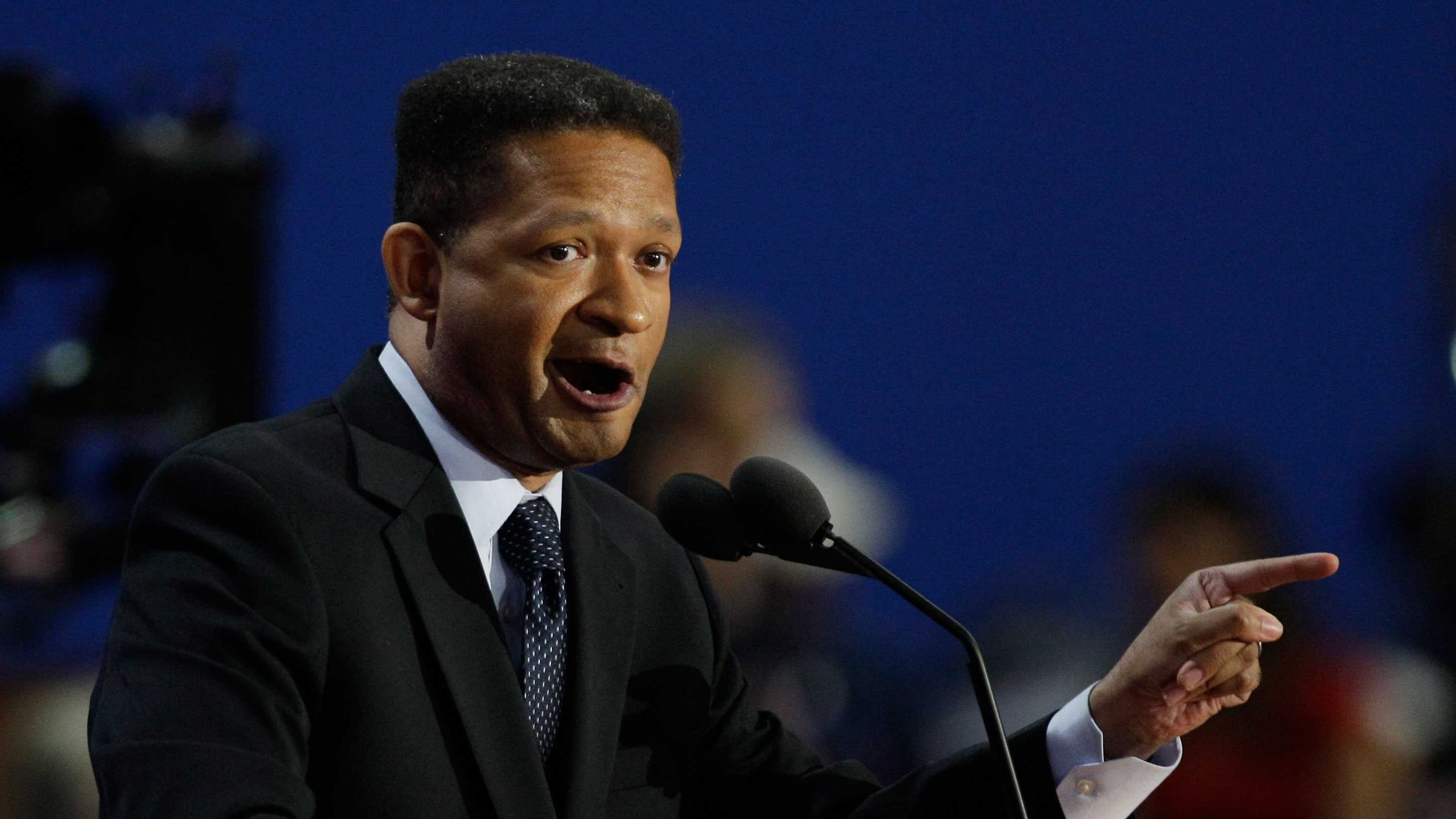 Former Representative Artur Davis speaks to delegates during the Republican National Convention in Tampa, Fla., on Tuesday, Aug. 28, 2012.