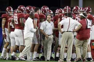 Alabama head coach Nick Saban leaves the huddle during the first half of the Cotton Bowl NCAA college football semifinal playoff game against Michigan State, Thursday, Dec. 31, 2015, in Arlington, Texas.