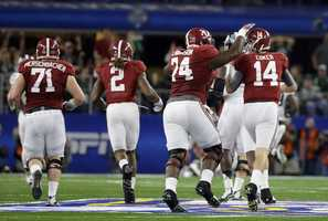 Alabama offensive lineman Cam Robinson (74) and quarterback Jake Coker (14) celebrate against Michigan State during the first half of the Cotton Bowl NCAA college football semifinal playoff game, Thursday, Dec. 31, 2015, in Arlington, Texas.