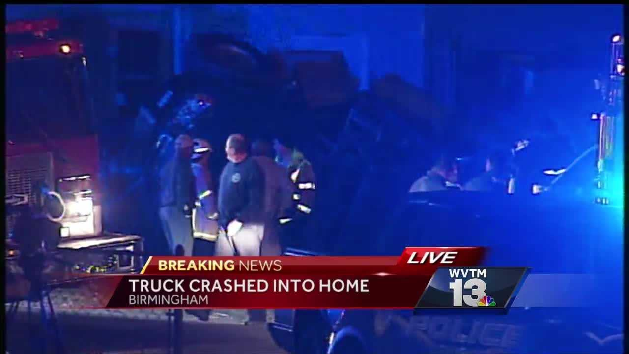 First responders are on the scene after a cement truck crashed into the side of a Birmingham home.