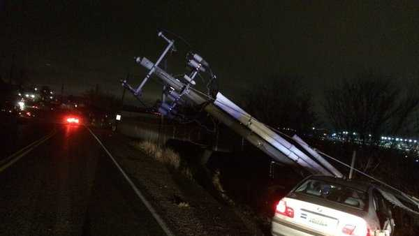 Birmingham police said a stolen car crashed into a power pole just outside of the Birmingham airport Thursday night.