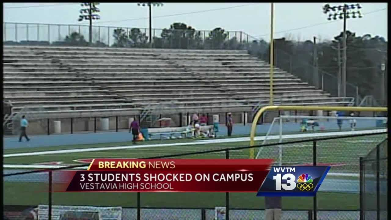Three students were taken to the hospital after being shocked at Vestavia Hills High School Tuesday.