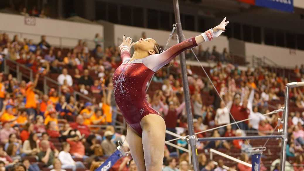 The Alabama gymnastics team posted a season-best 197.750 to take second at the 2016 Southeastern Conference Championships, just .025 behind the Florida Gators.