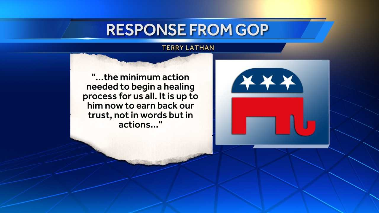 "Alabama Republican Party Chair Terry Lathan says the party is ""disappointed"" with Gov. Robert Bentley's actions after he admitted to making inappropriate comments to a senior political adviser."