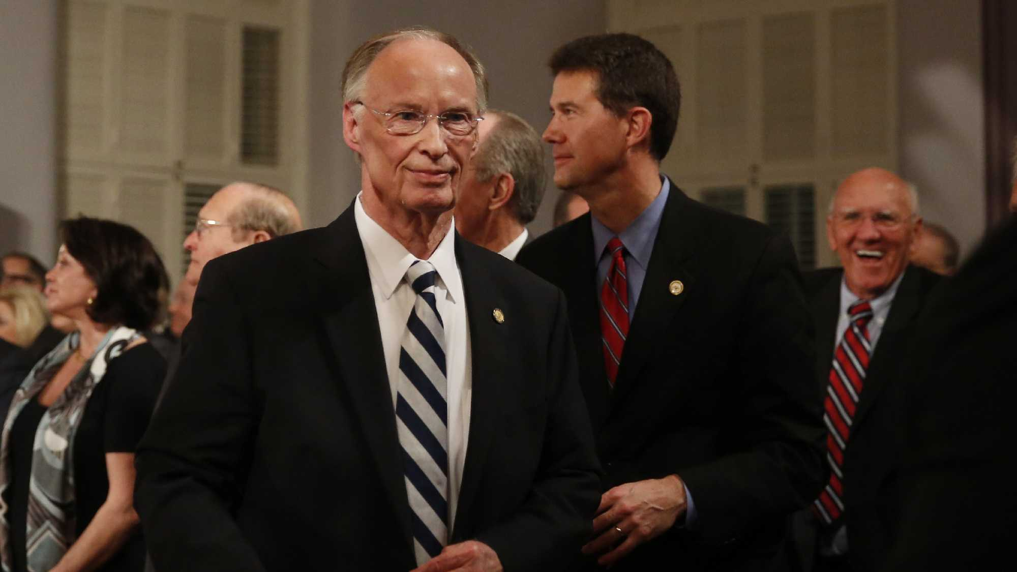 Alabama Gov. Robert Bentley walks towards the door after speaking during the annual State of the State address at the Capitol, Tuesday, Feb. 2, 2016, in Montgomery, Ala.