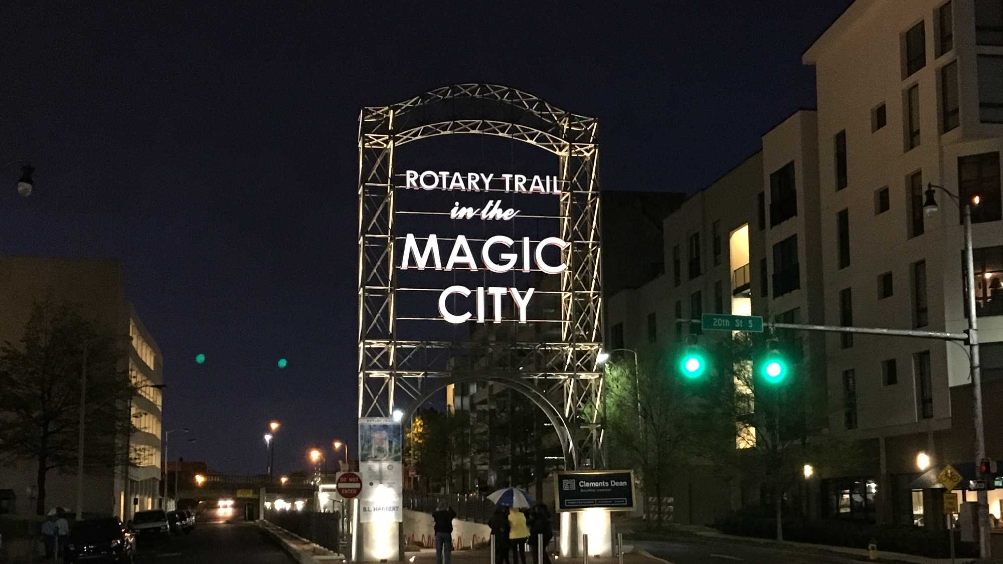 "A ceremony was held Wednesday to light the 46-foot tall ""Magic City"" sign in downtown Birmingham."