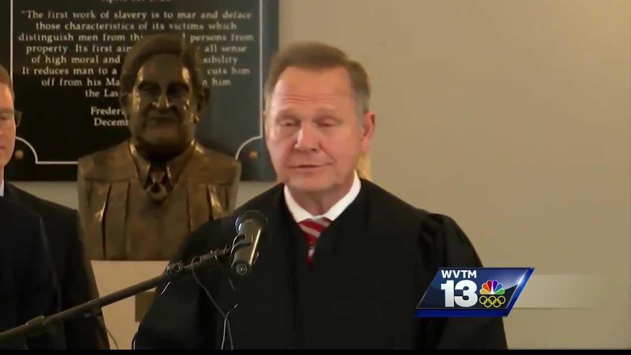 ROY MOORE WAS SUSPENDED OVER POSSIBLE ETHICS VIOLATIONS FOR HIS STANCE AGAINST GAY MARRIAGE.