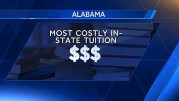 A list of the 10 most expensive in-state tuition colleges in Aalabama