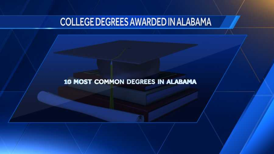 According to Data USA these are the ten most college degrees awarded to students in 2014 in the state of Alabama.