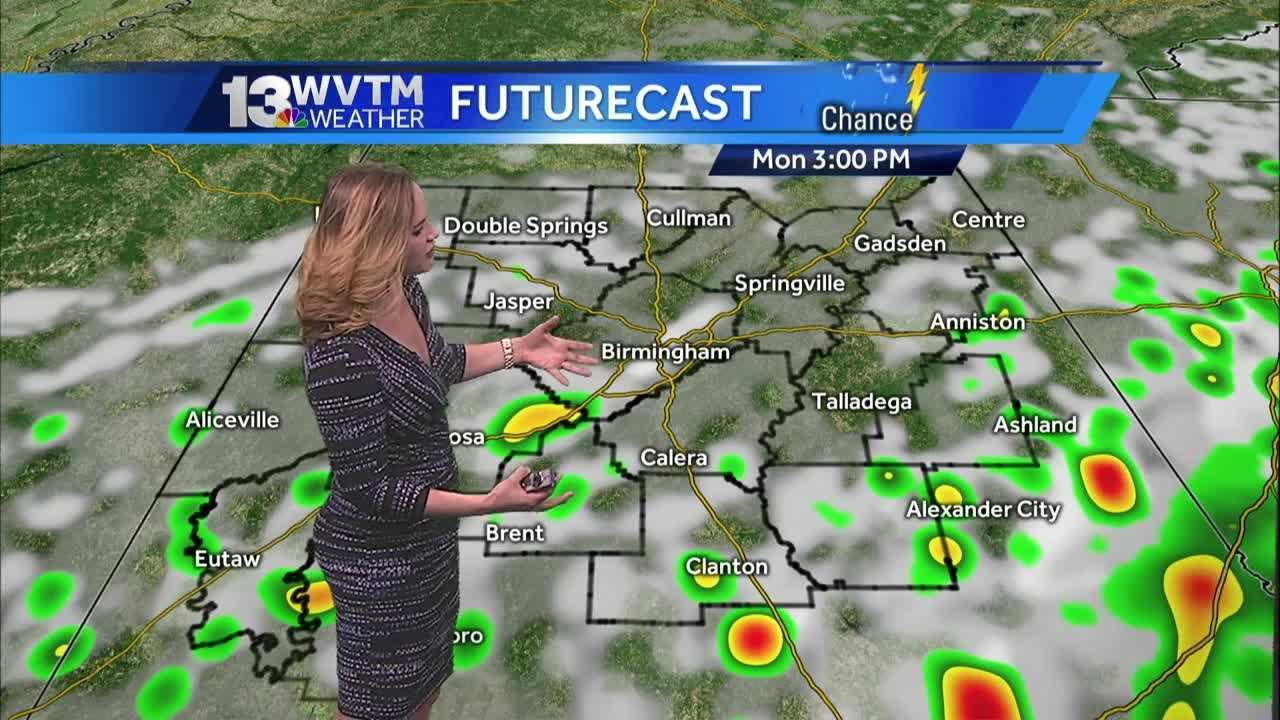 This afternoon, spotty shower or storm still possible, mainly 20/59 and south.