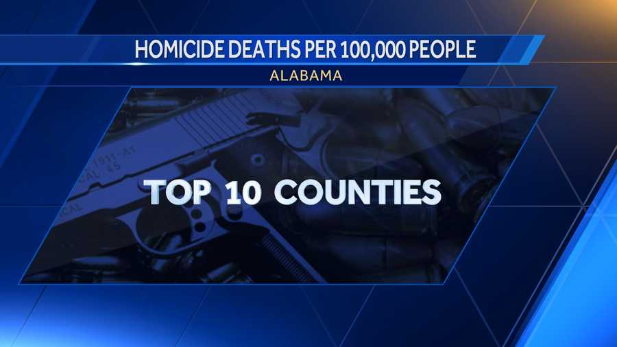 According to DataUSA, these are the highest rated counties in Alabama with homicide deaths per 100,000 people.
