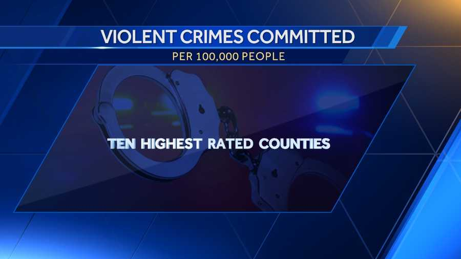 Here is a list of the ten highest rated counties in Alabama for violent crimes committed per 100,000 people according to DataUSA.