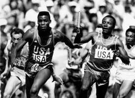 Calvin Smith (right) attended the University of Alabama where he competed in track and field. Smith won a gold medal in the 4x100m relay at the 1984 Summer Olympics in Los Angeles. He also placed third in the 100m sprint in 1988 in Seoul.AP Images