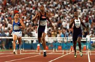 Hanceville native Calvin Davis (right) earned a bronze medal in the 400m hurdles at the 1996 Summer Olympics in Atlanta.AP Images