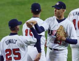 Once a member of the Birmingham Baron's, Jon Rauch played on the gold-winning baseball team in 2000.AP Images