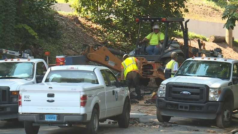 Workers deal with a water main break that has Memory Lane closed in Mountain Brook.