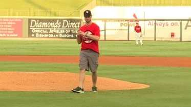 Birmingham firefighter Lt. Andrew Johnson said he is grateful to be alive after being injured while battling a fire in August. On Saturday, he was given the opportunity to throw out the first pitch at the Baron's game.