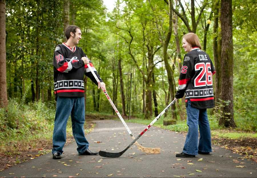 Engagement photo shoots showing the couples favorite sports wedding theme.