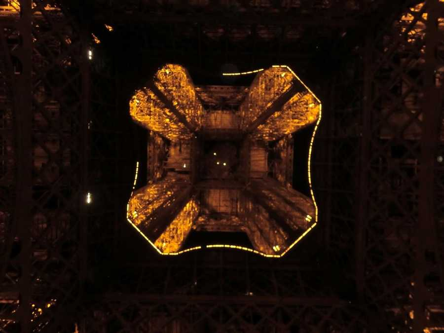 From underneath The Eiffel Tower in Paris, France