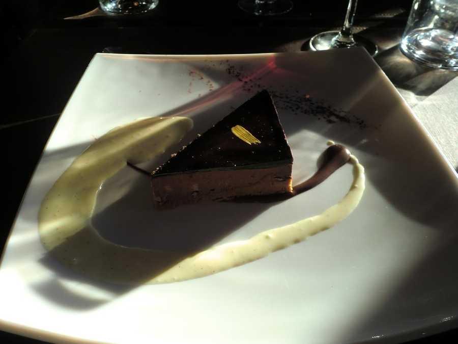Chocolate dessert in Restaurant in Paris, France