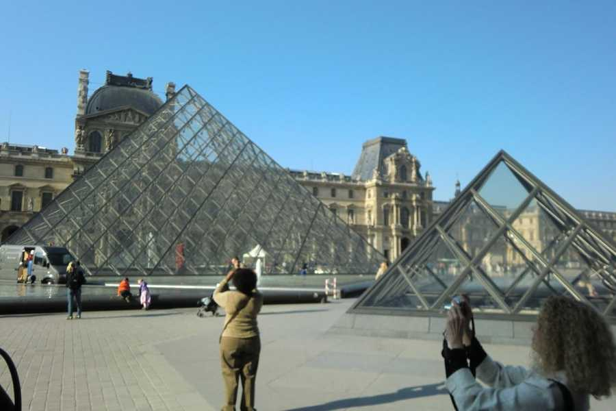 The Louvre Pryamid at the Museum in Paris, France