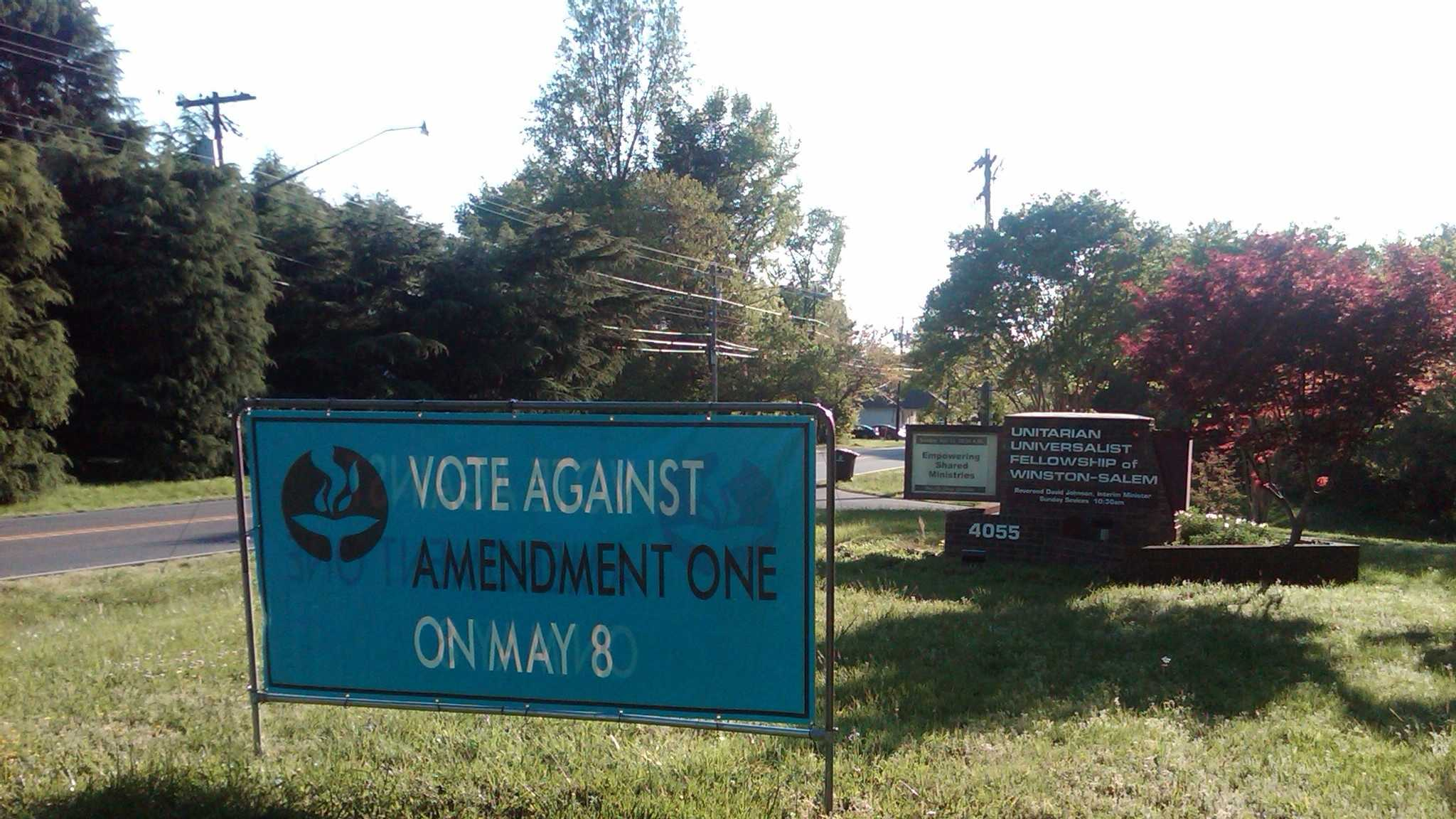 Church's Amendment One sign stolen