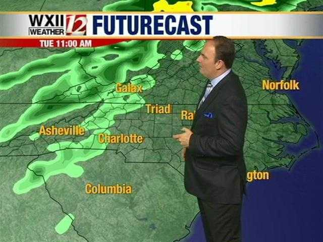 Let's check out hourly futurecast images throughout Tuesday and overnight into Wednesday.